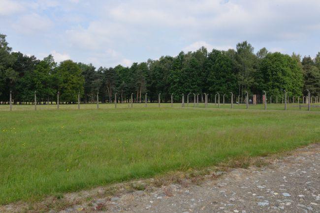 Северо-западный угол сектора БII. Во время побега военнопленные побежали к деревьям, которые были видны на заднем плане. Современный взгляд.